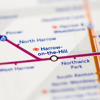 Harrow on the hill tube map
